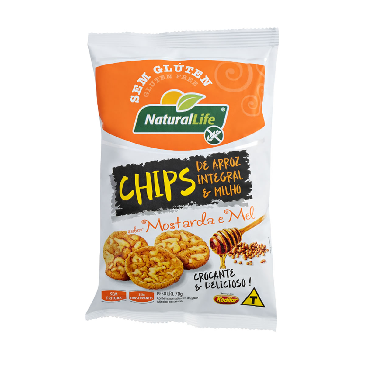 Chips de Arroz Integral e Milho Sabor Mostarda e Mel Sem Glúten 70g - NaturalLife
