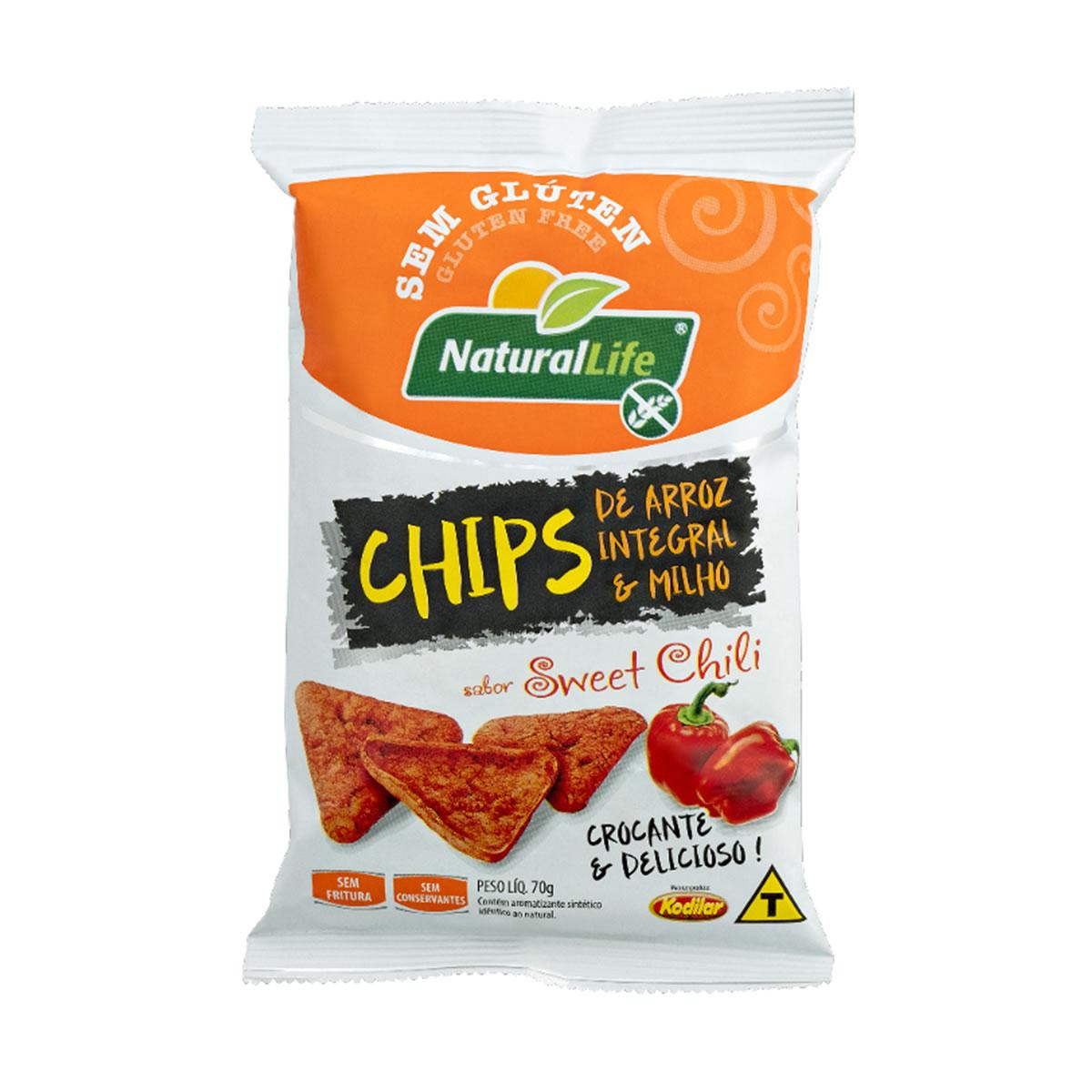 Chips de Arroz Integral e Milho Sabor Sweet Chili Sem Glúten 70g - NaturalLife
