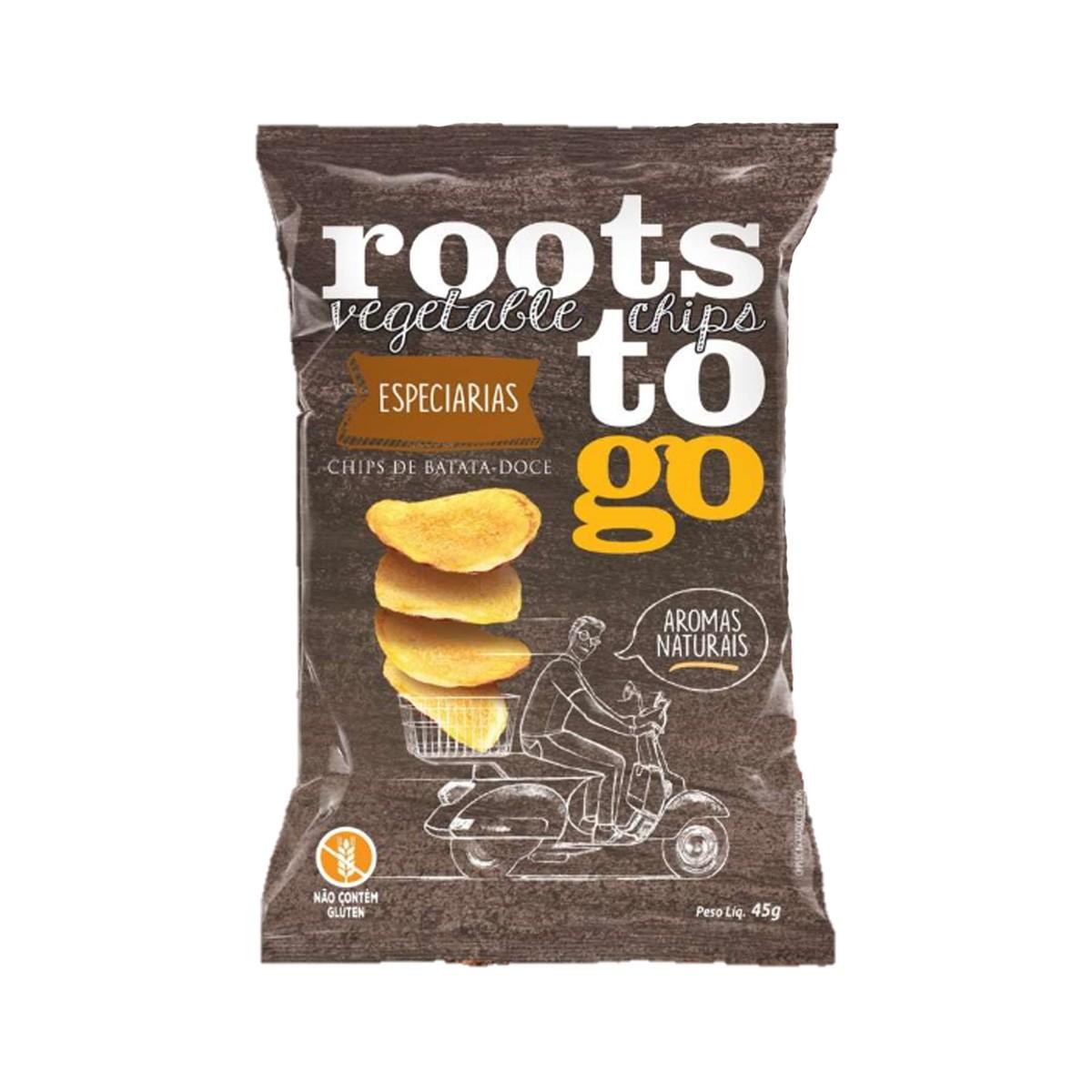 Chips de Batata Doce Com Especiarias 45g - Roots To Go