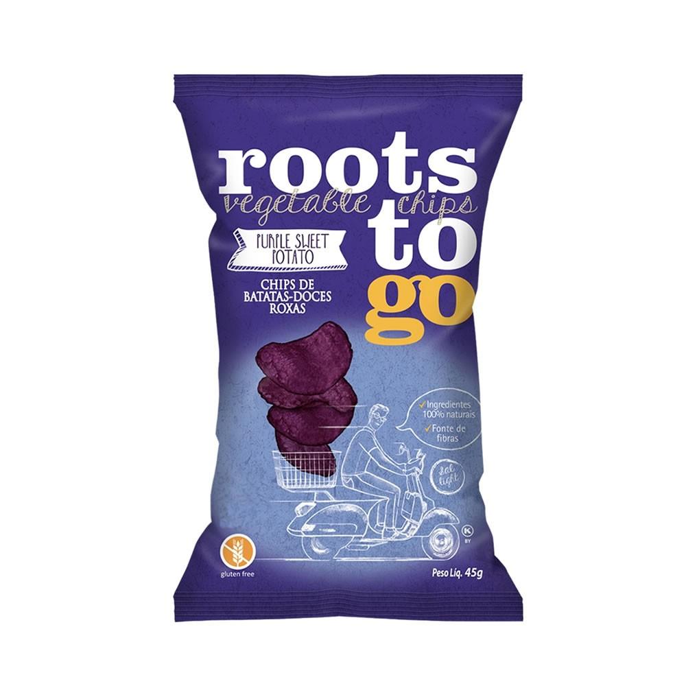 Chips de Batatas Doces Roxas 45g - Roots To Go