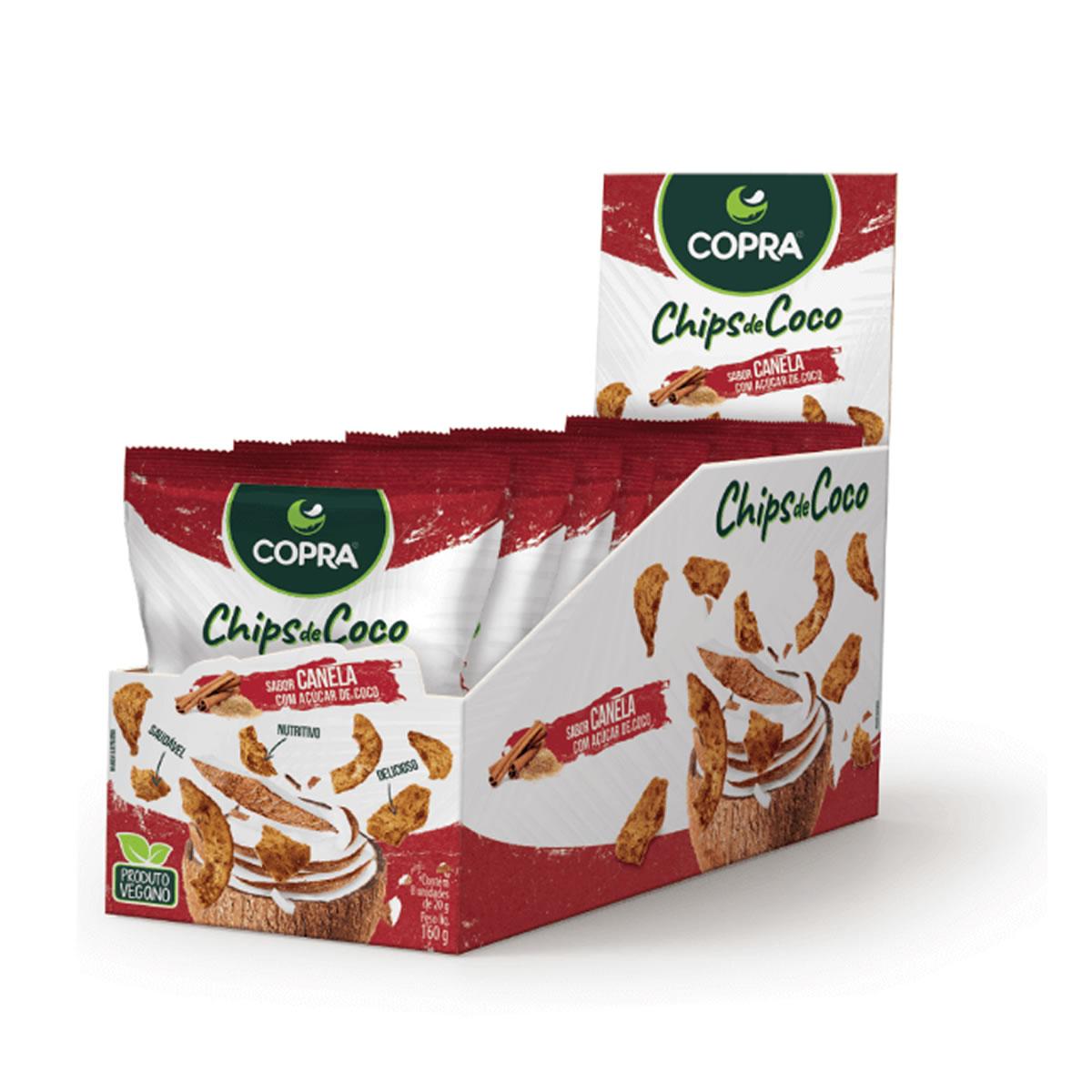 Chips de Coco sabor Canela com Açúcar de Coco 8un de 20g - Copra