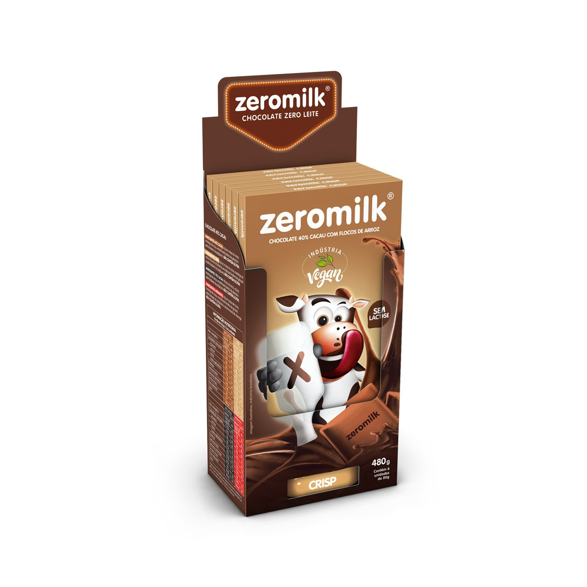 Chocolate 40% Cacau Com Crisp Zero Lactose Display com 6 un. de 80g - ZeroMilk