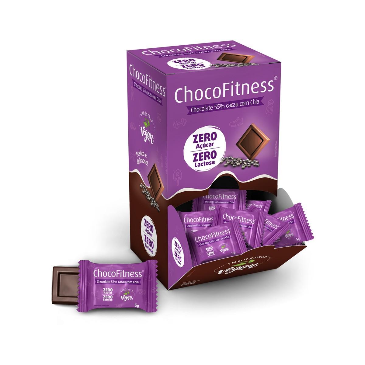 Chocolate 55% Cacau com Chia Zero Display com 50 un. de 5g - ChocoFitness