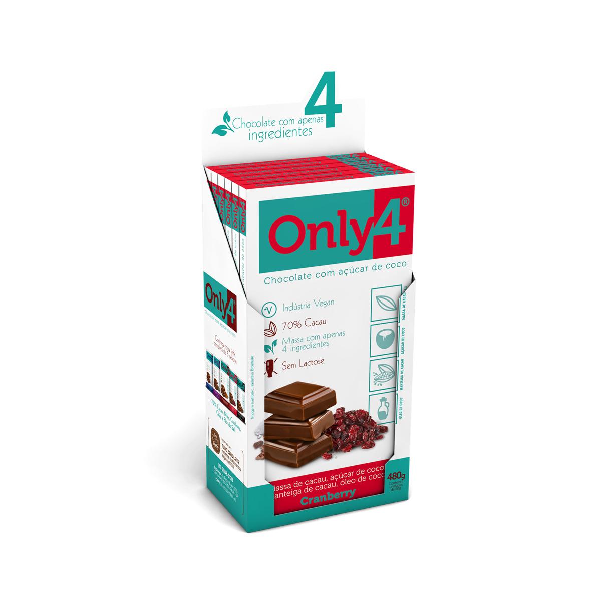 Chocolate 70% Cacau com Cranberry Display com 6 un. de 80g - Only4