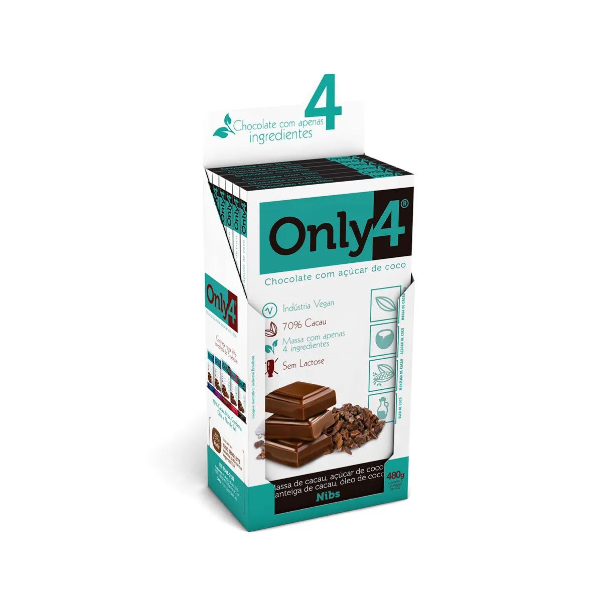 Chocolate 70% Cacau com Nibs Display com 6 un. de 80g - Only4