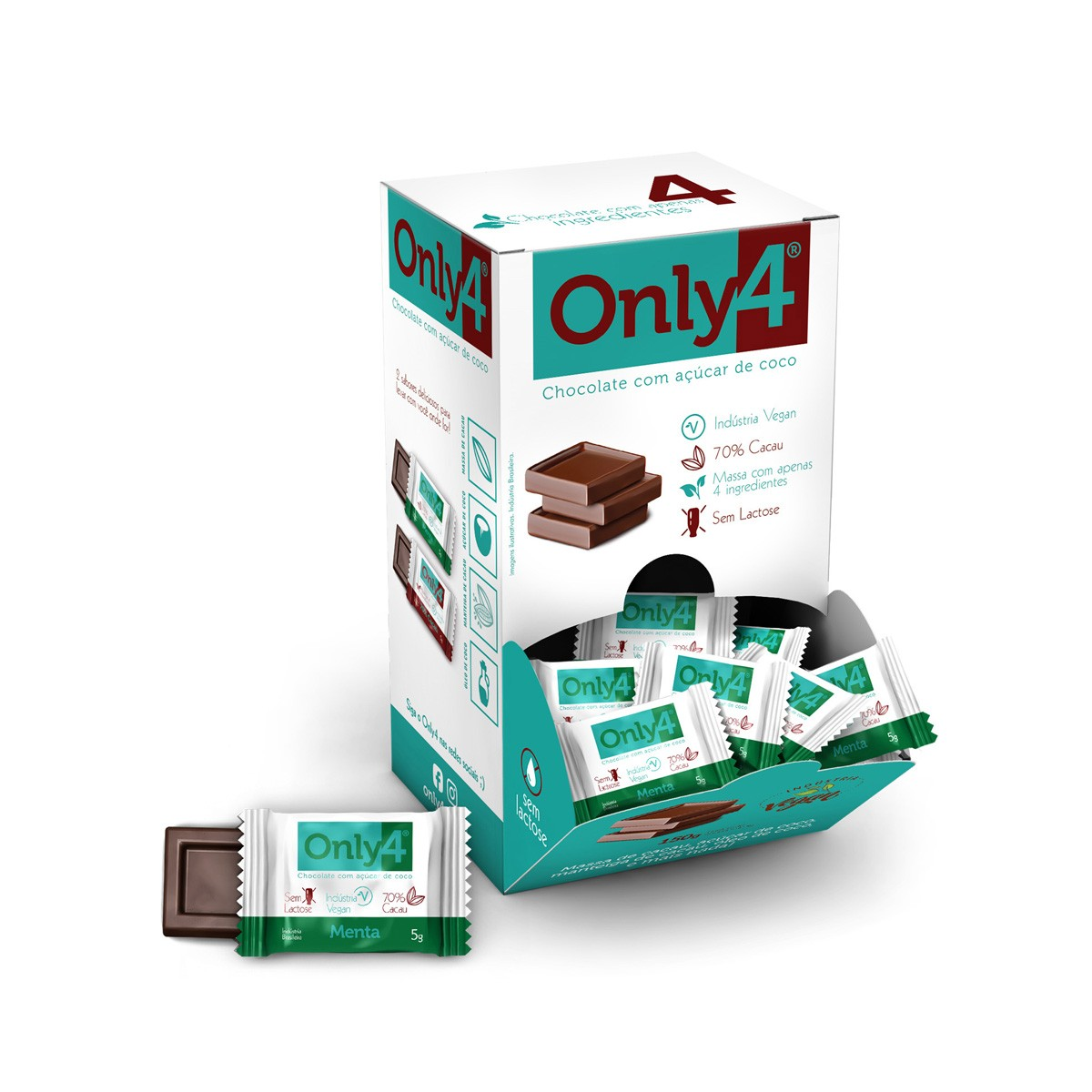 Chocolate 70% Cacau Sabor Menta Display com 30 un. de 5g - Only4