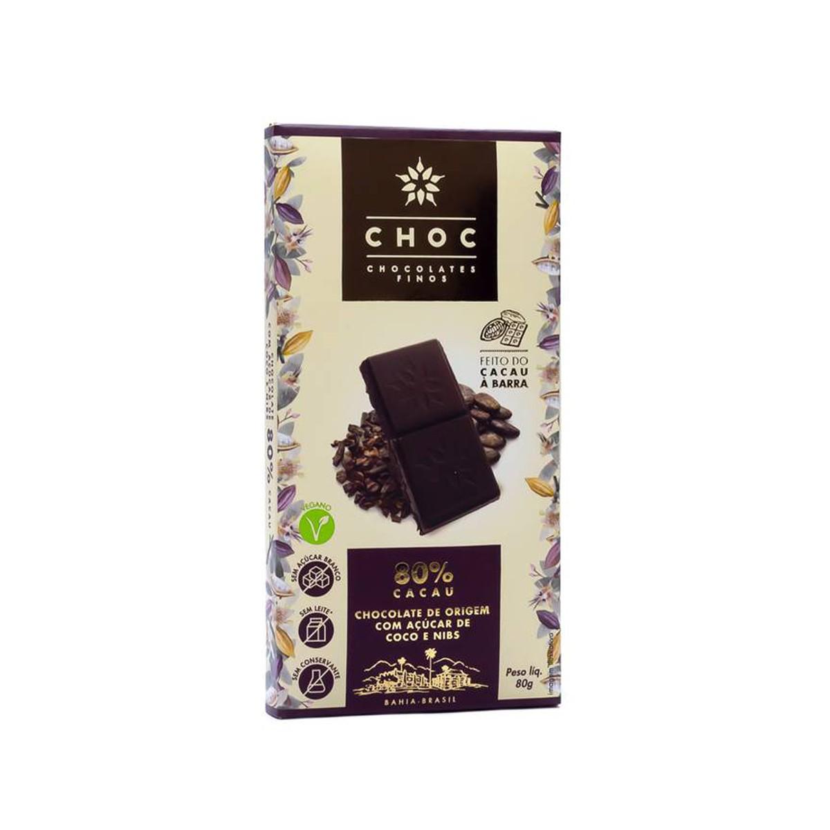 Chocolate 80% Cacau com Nibs 80g - Choc
