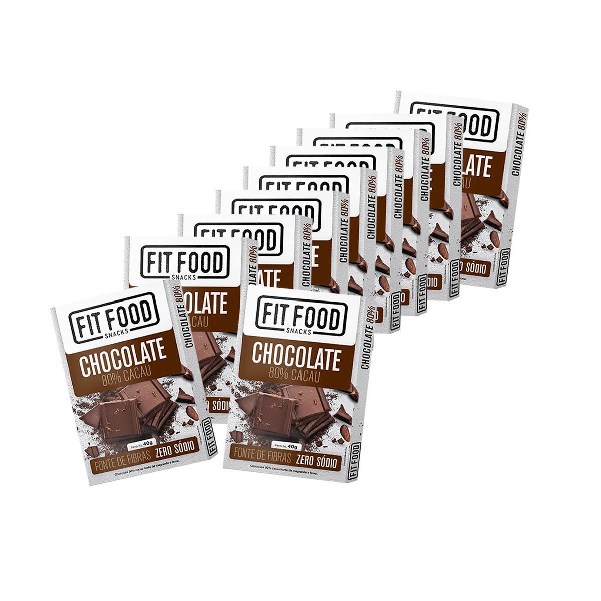 Chocolate 80% Cacau Display com 10 un de 40g - Fit Food