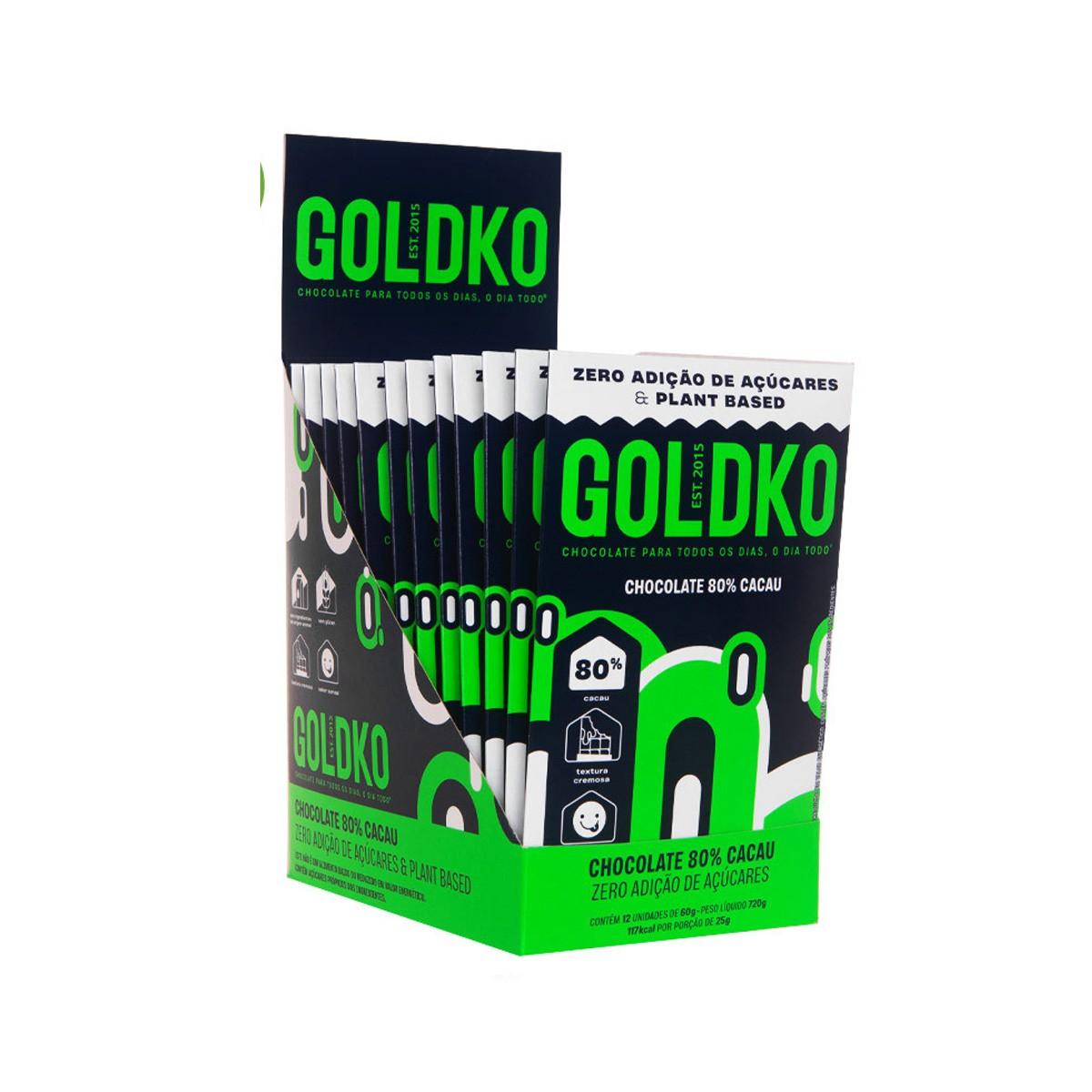 Chocolate 80% Cacau Zero Display com 12 un. de 60g - Gold & Ko