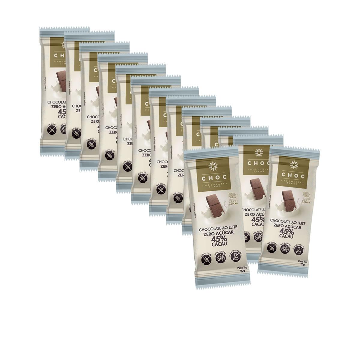 Chocolate ao Leite 45% Cacau  Zero display com 14un de 20g - Choc