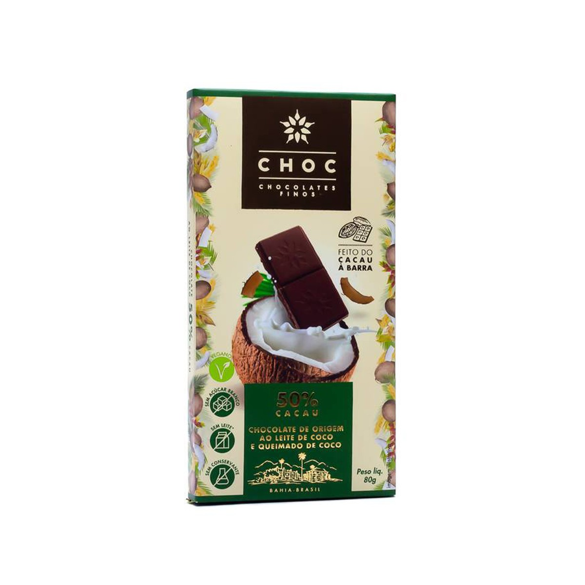 Chocolate ao Leite de Coco e Coco Queimado 50% Cacau 80g - Choc