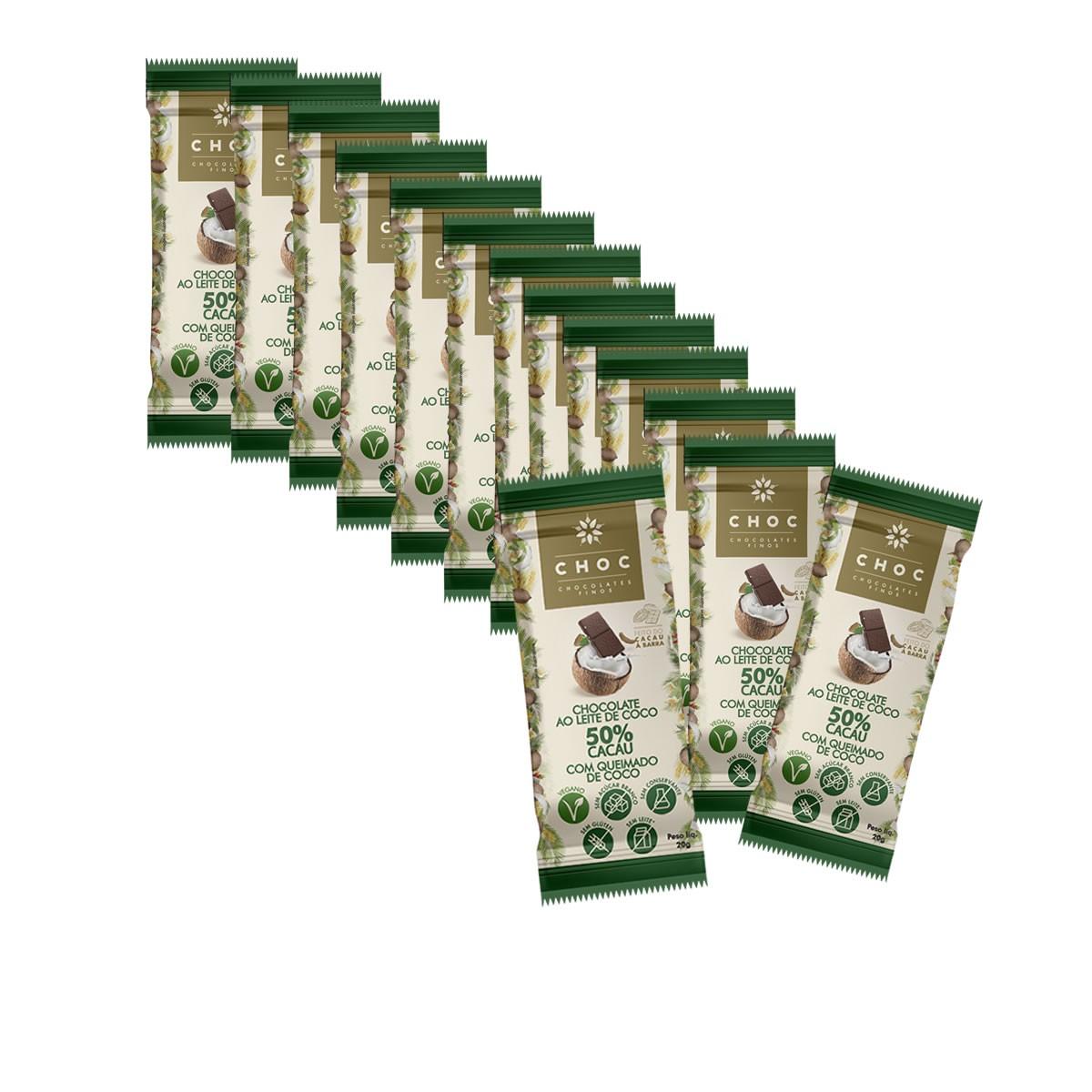 Chocolate ao Leite de Coco e Coco Queimado 50% Cacau display com 14un de 20g - Choc