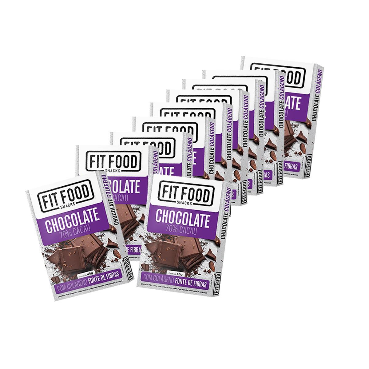 Chocolate Colágeno 70% Cacau Display com 10 un de 40g - Fit Food