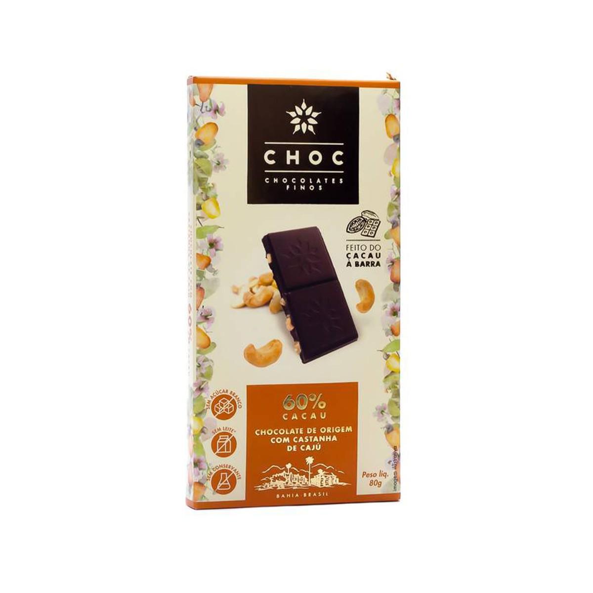 Chocolate com Castanha de Caju 60% Cacau 80g - Choc