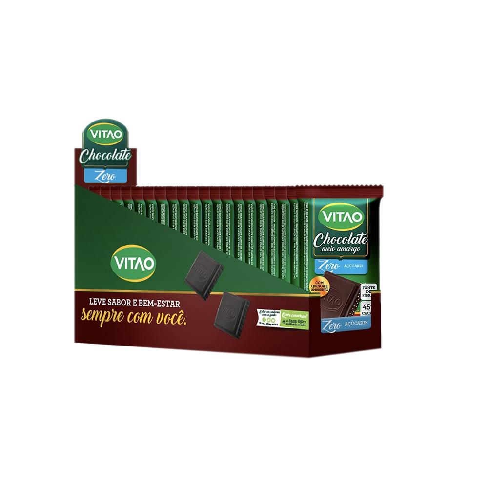 Chocolate Meio Amargo com Amaranto e Quinoa Zero Açúcar com 18 unidades de 30g - Vitao