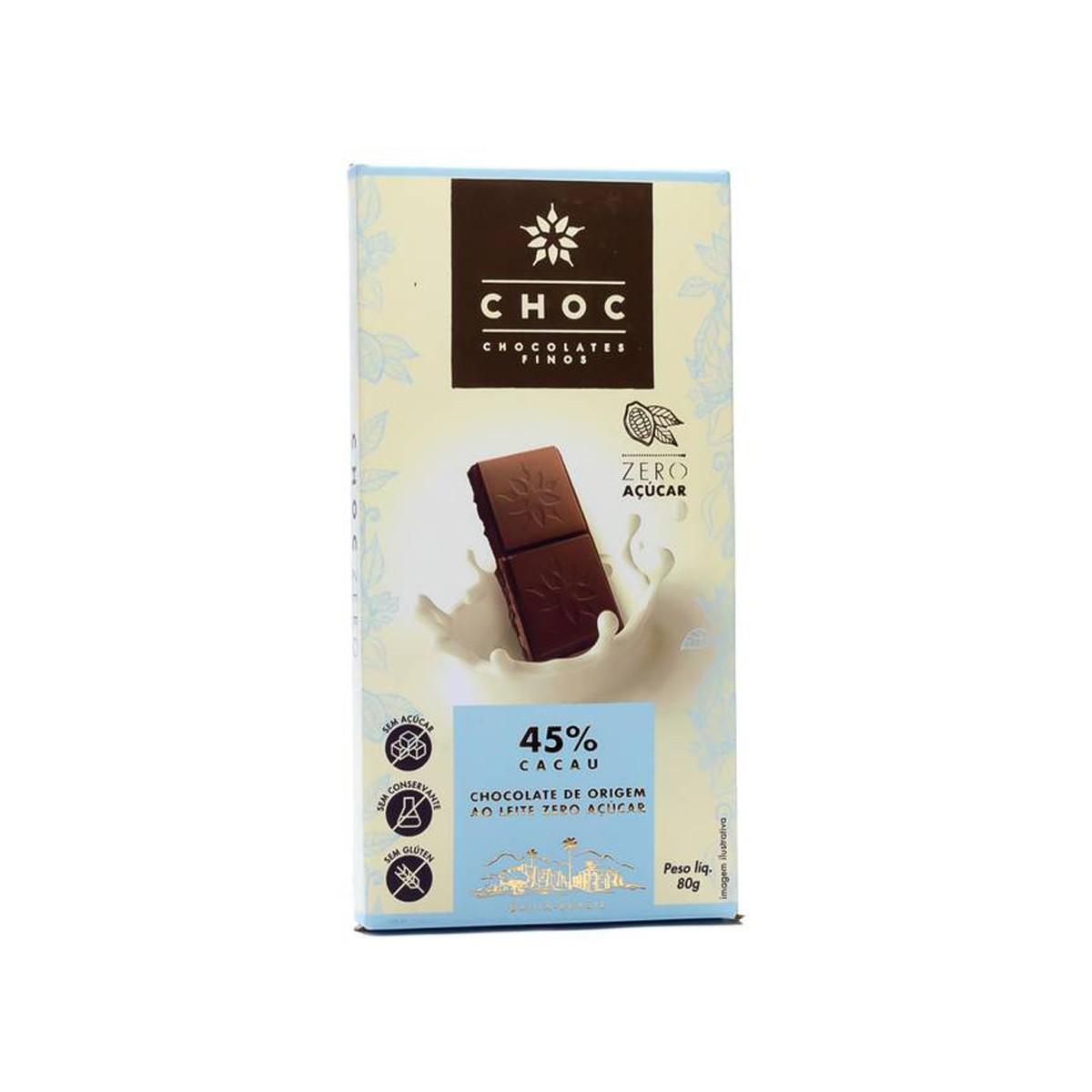 Chocolate Zero ao Leite 45% Cacau 80g - Choc