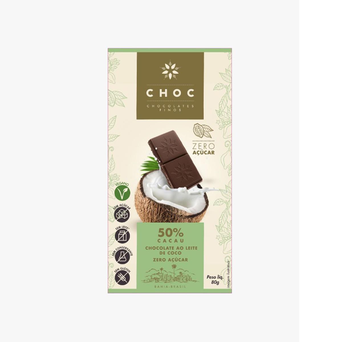 Chocolate Zero ao Leite de Coco 50% Cacau 80g - Choc
