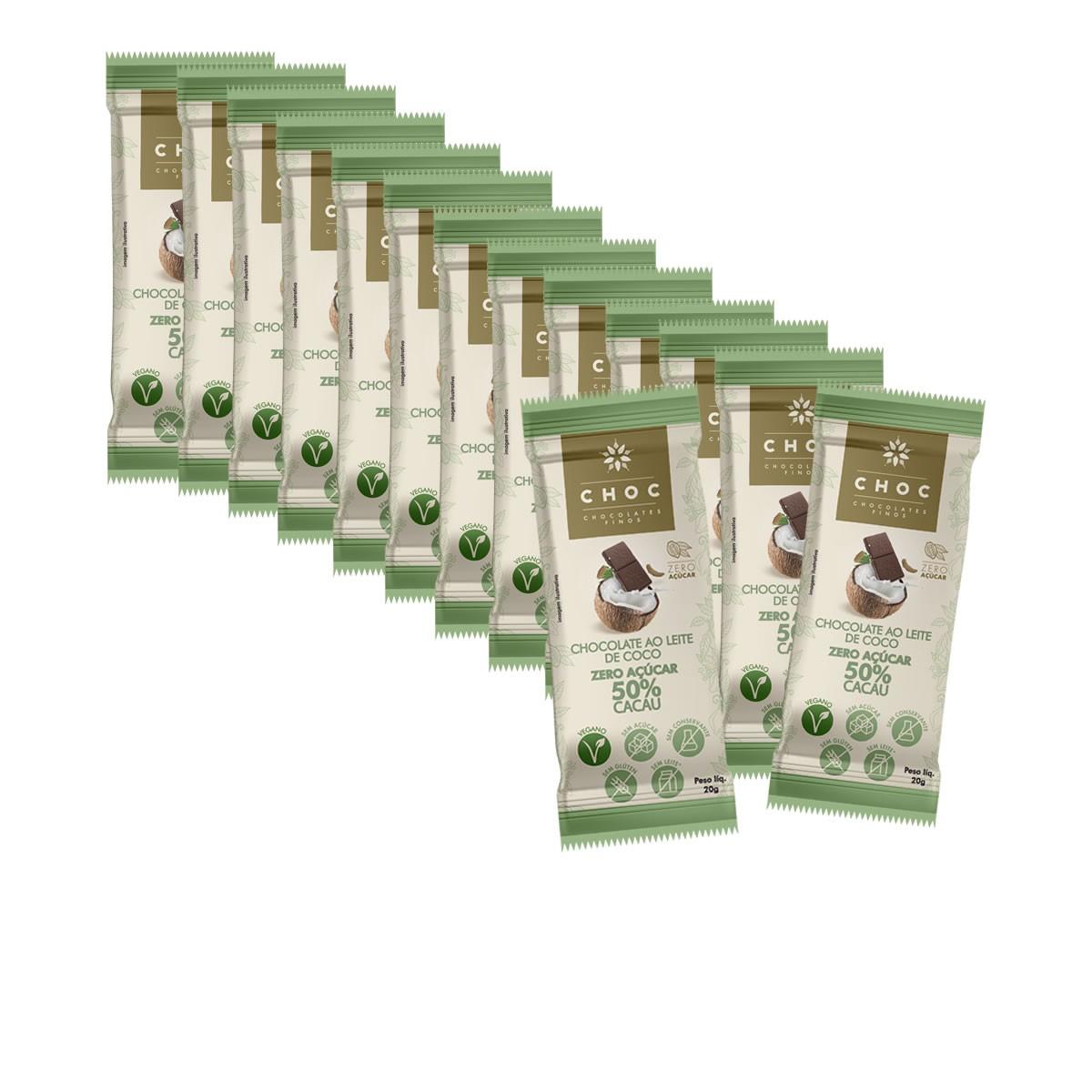 Chocolate Zero ao Leite de Coco 50% Cacau display com 14un de 20g - Choc