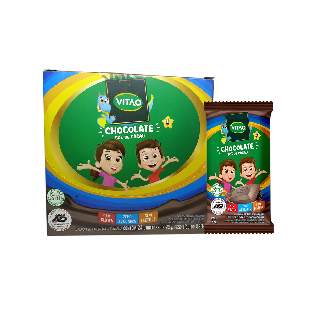 Chocolate Zero Lactose Zero Açúcar 24un de 22g Kids - Vitao