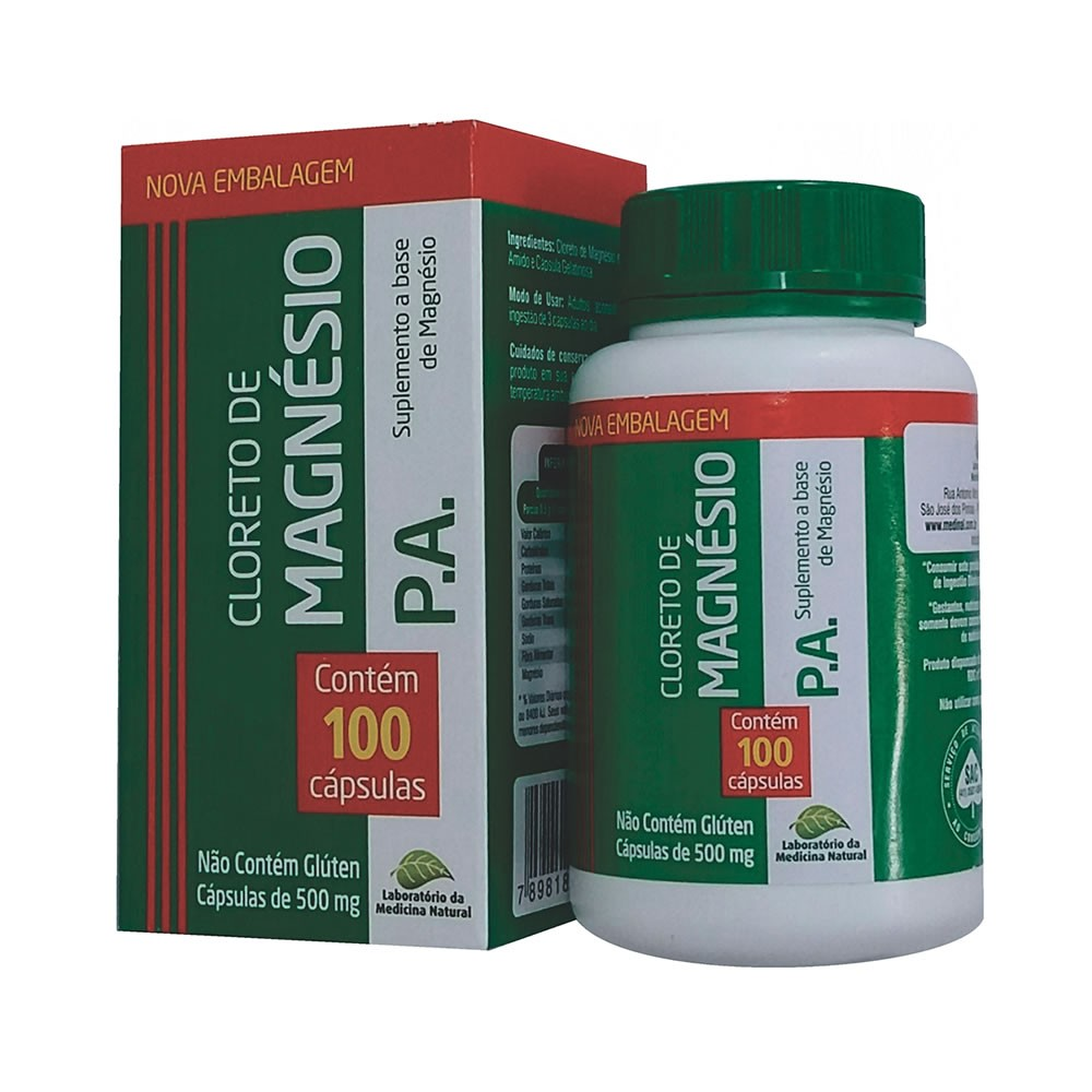 Cloreto de Magnésio PA 500mg 100 cápsulas - Medinal