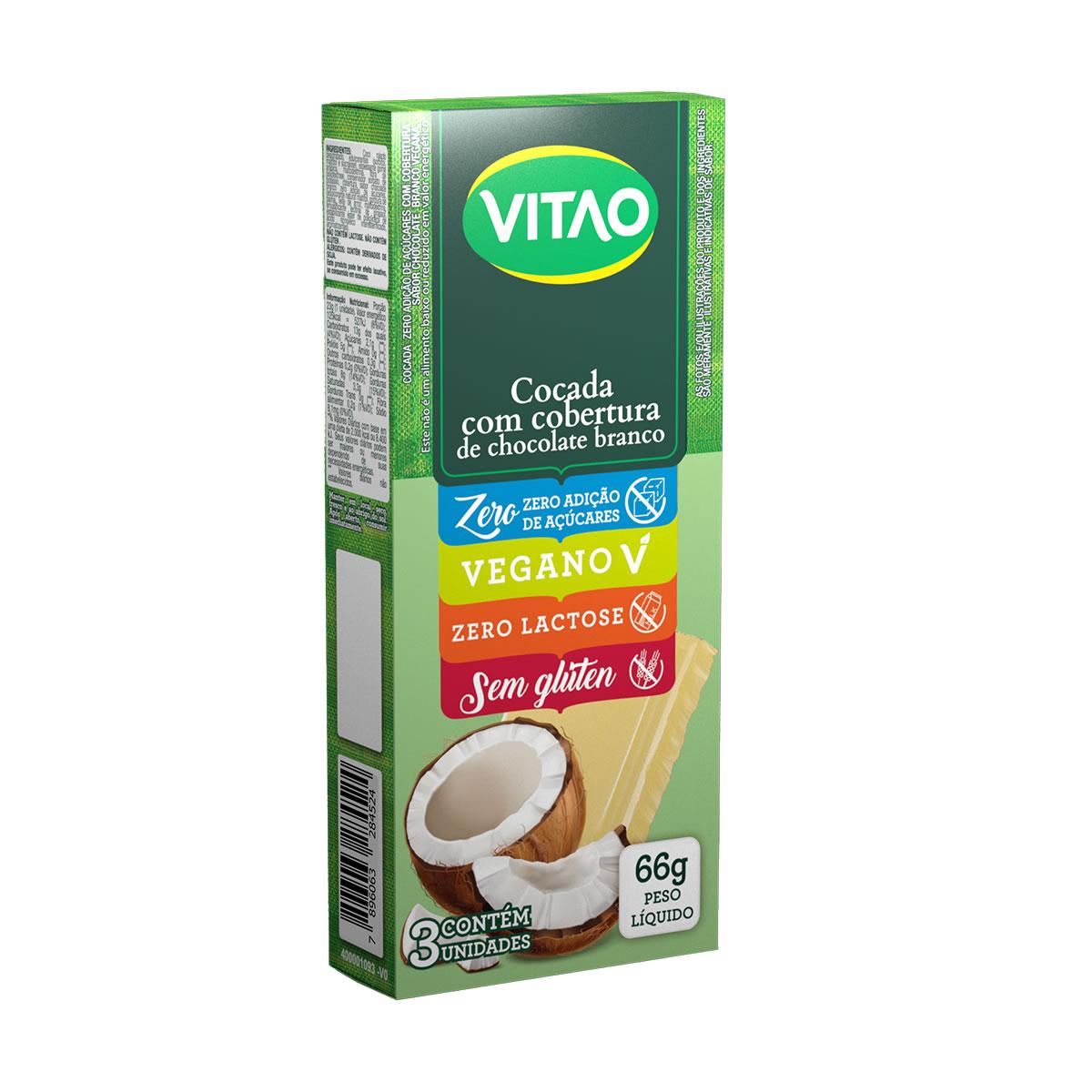 Cocada com Chocolate Branco Zero display com 3 unidades de 22g - Vitao