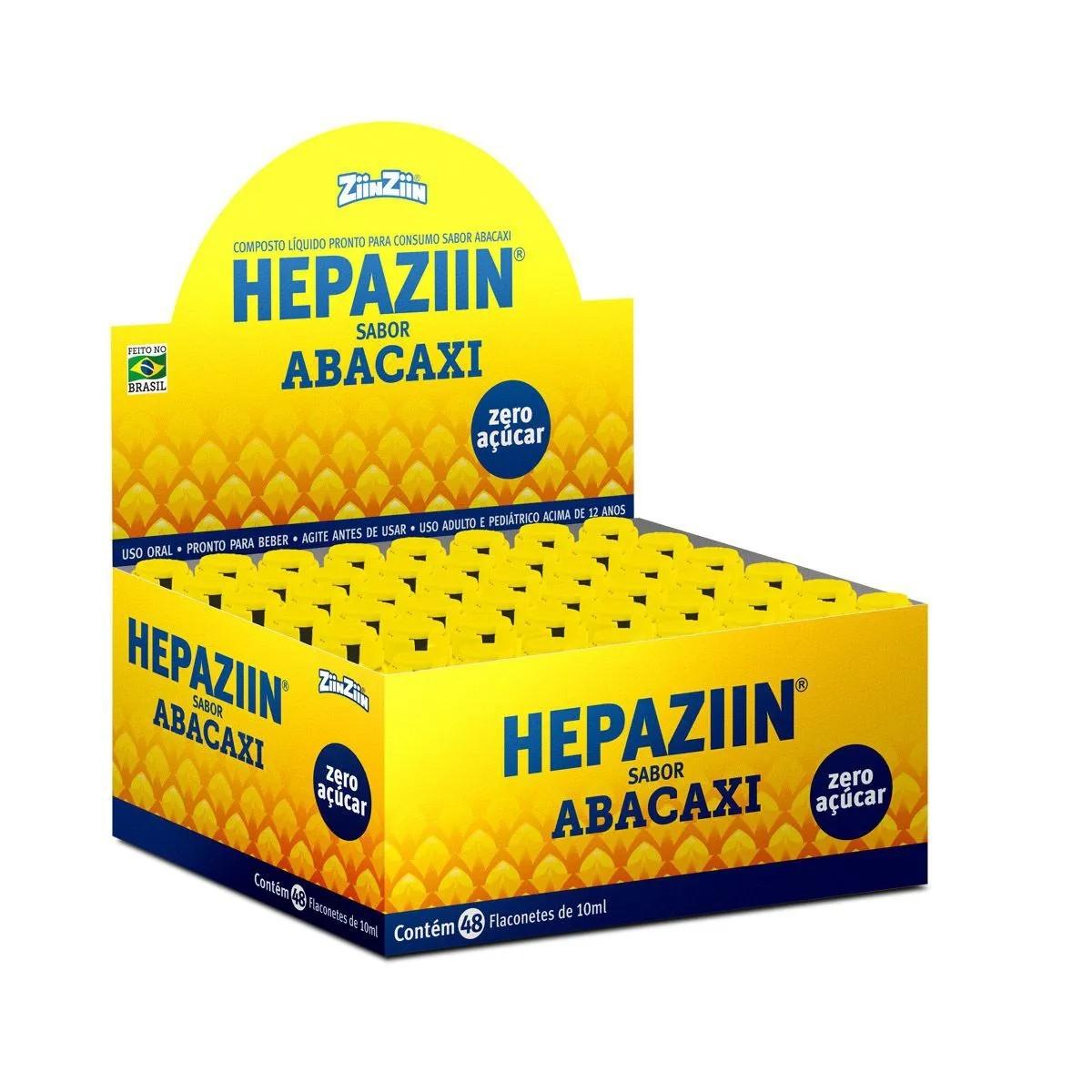 Composto Hepazin Zero Sabor Abacaxi com 48 flaconetes de 10ml - ZiinZiin