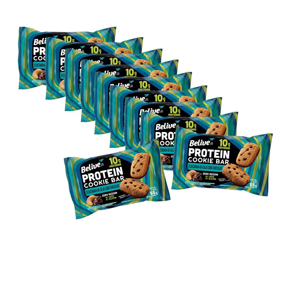 Cookie Bar Protein Sem Glúten Zero Castanha de Caju com Chocolate com 10 unidades de 40g - Belive