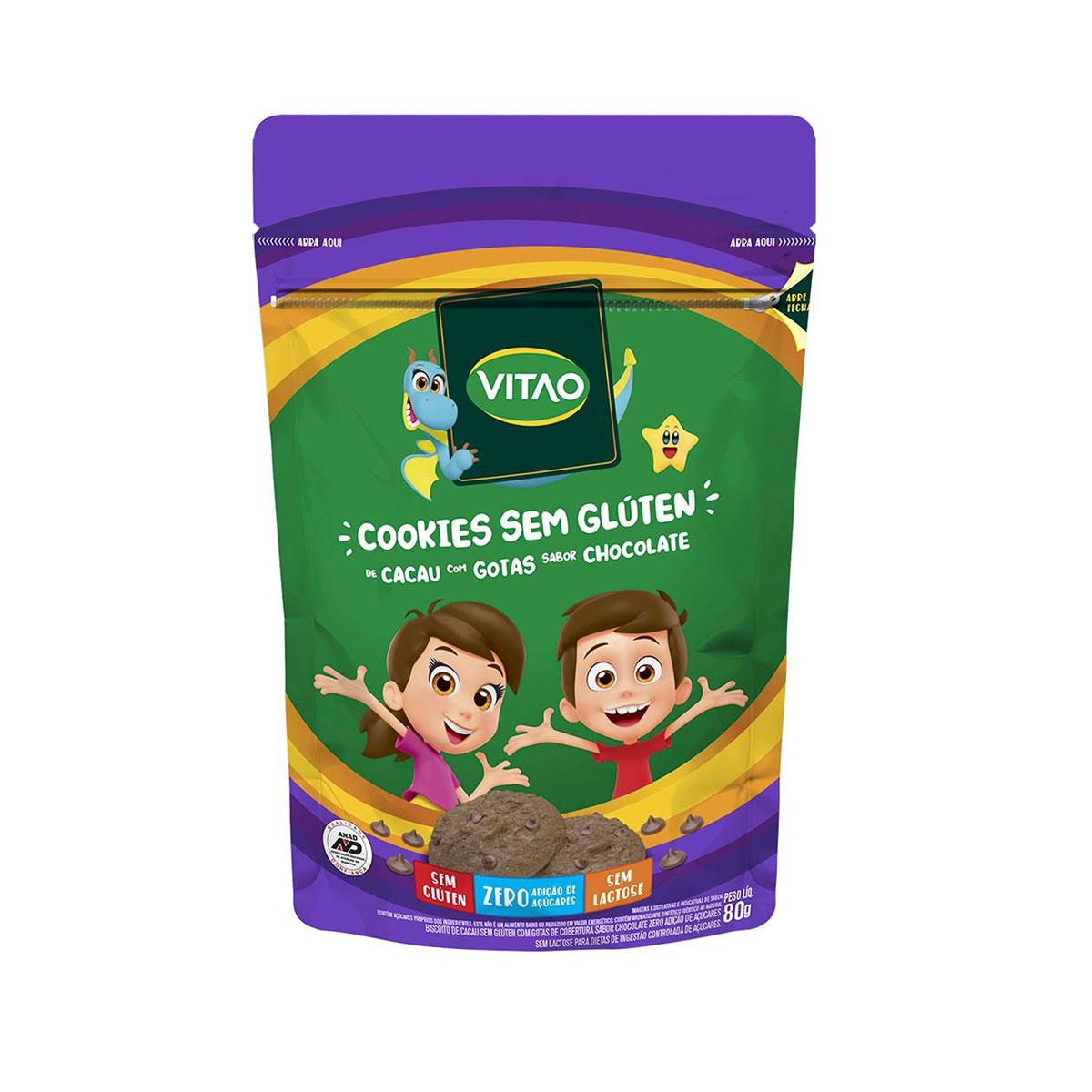 Cookie de Cacau Sem Glúten Zero Açúcar Kids 80g - Vitao