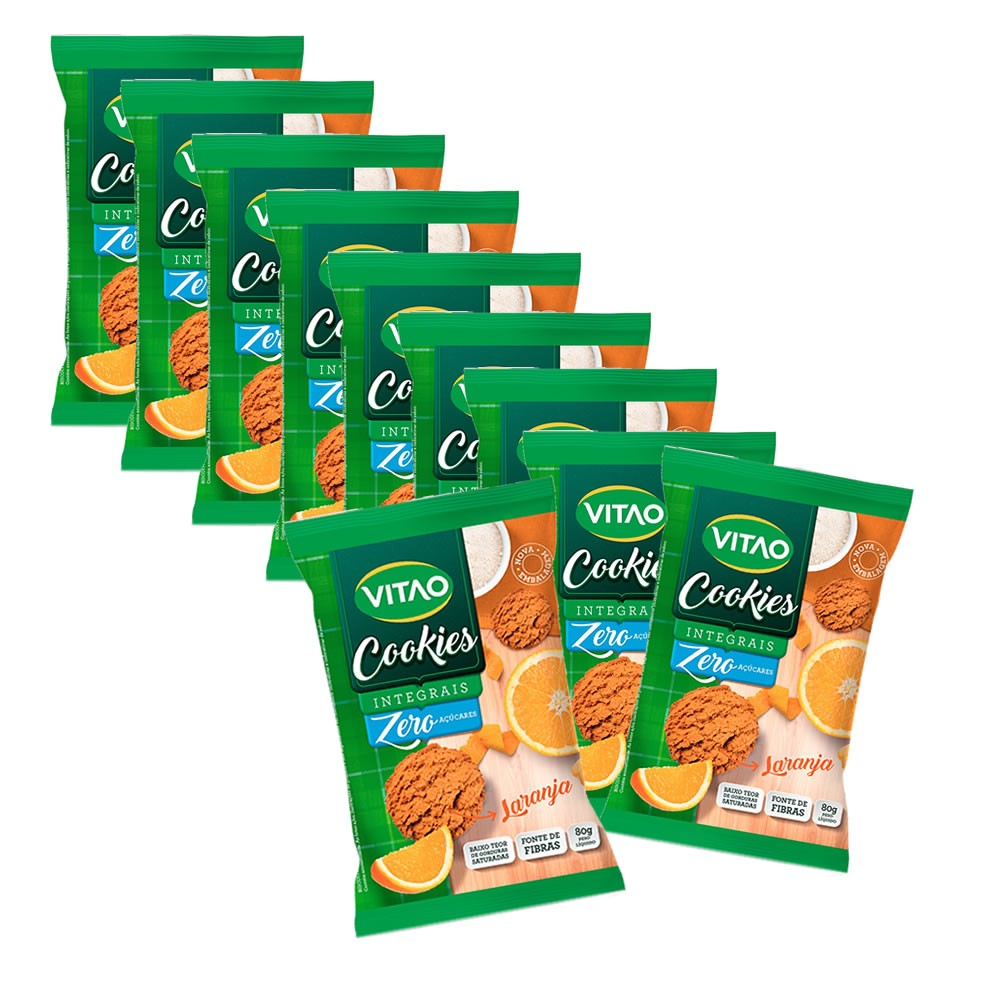 Cookie Integral Zero de Laranja display com 10 un. de 80g - Vitao 662