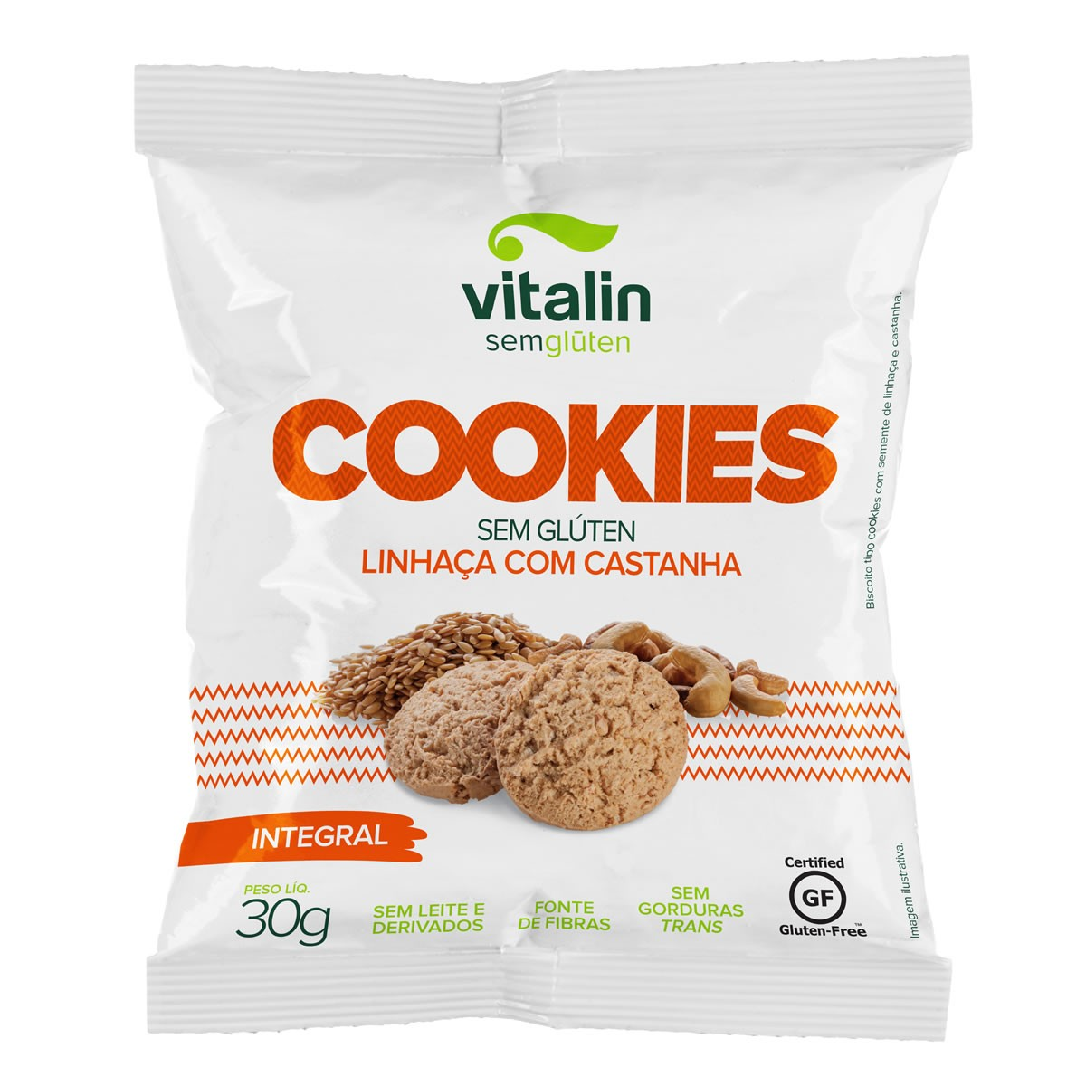 Cookie Sabor Linhaça com Castanha  30g - Vitalin