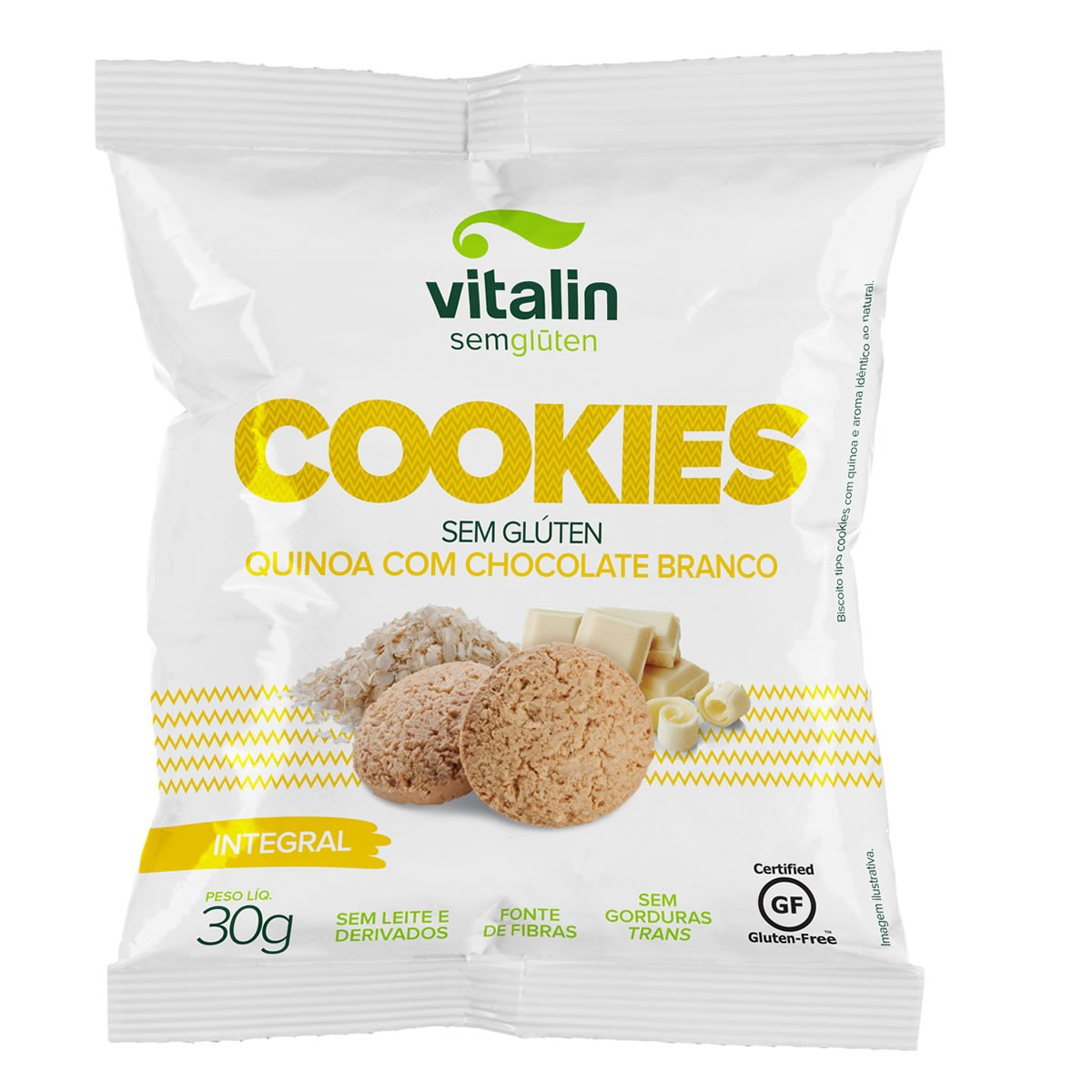 Cookie Sabor Quinoa com Chocolate Branco 30g - Vitalin