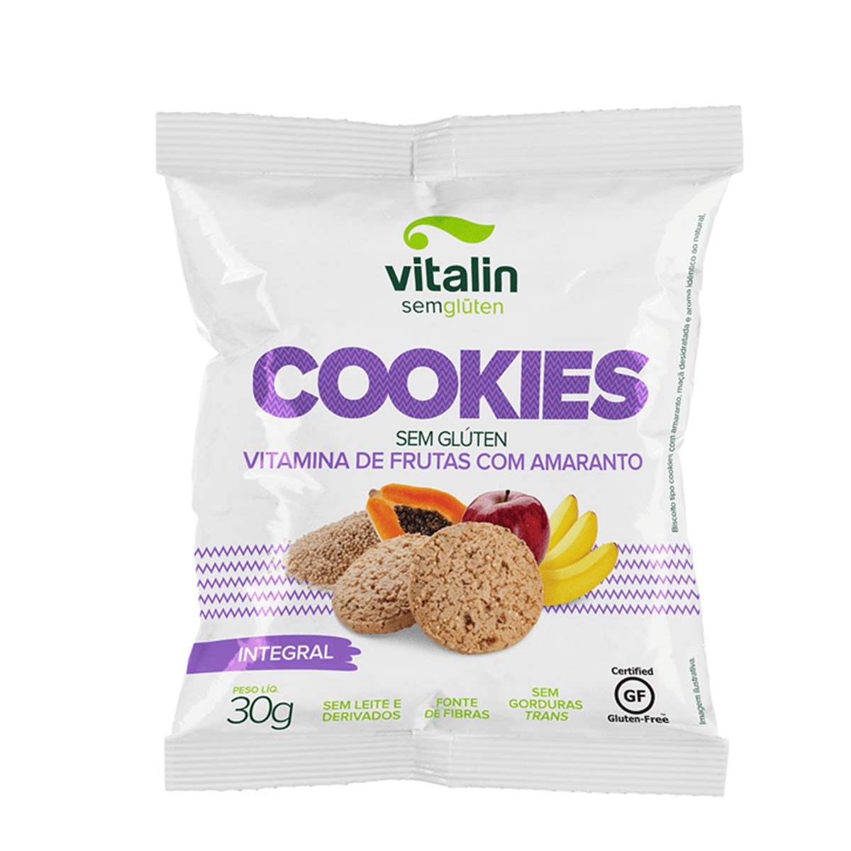 Cookie Sabor Vitamina de Frutas com Amaranto 30g - Vitalin