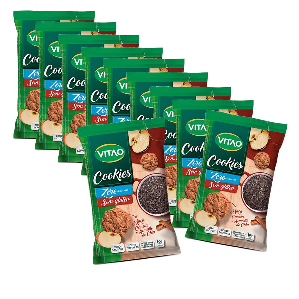 Cookie Zero Sem Glúten Chia e Maçã display com 10 un. de 80g - Vitao 684