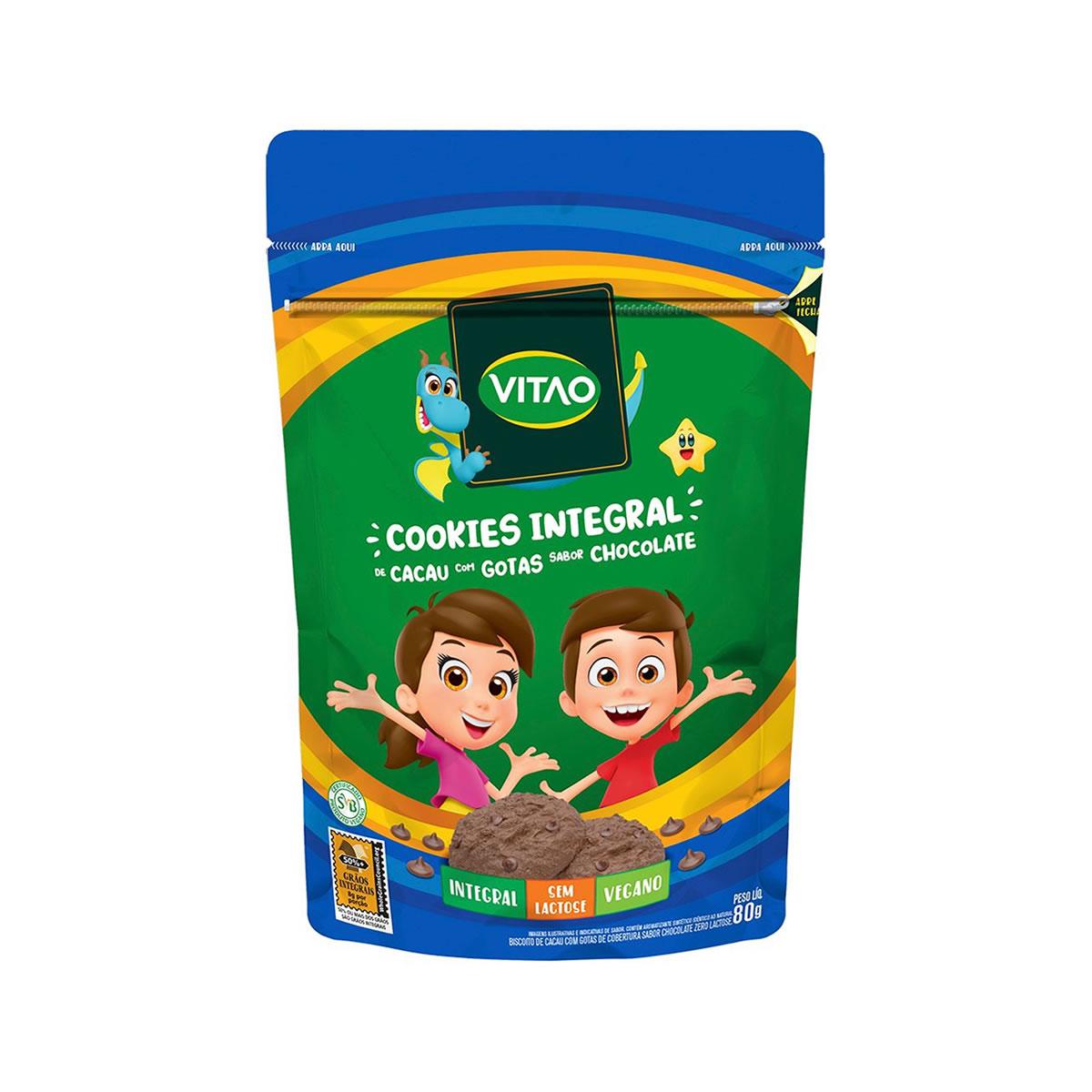 Cookies Integral de Cacau com Chocolate Sem Lactose Kids 80g - Vitao