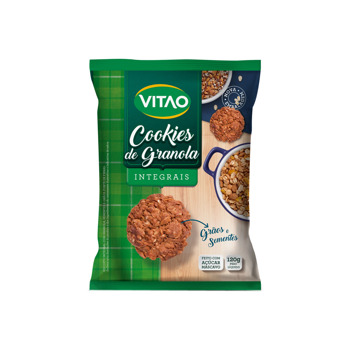 Cookies Integral de Granola com Grãos e Sementes 120g - Vitao