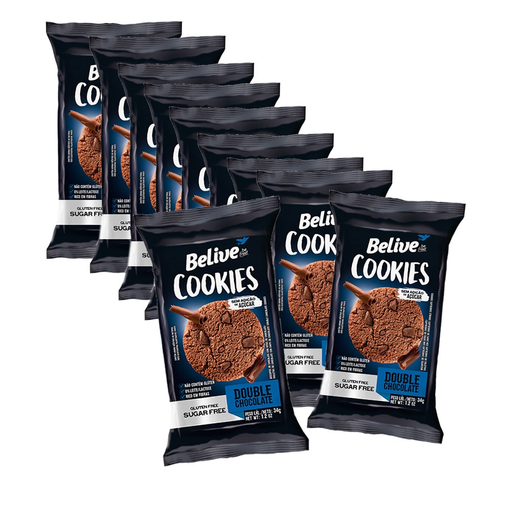 Cookies Sem Glúten Zero Double Chocolate com 10 unidades de 34g - Belive
