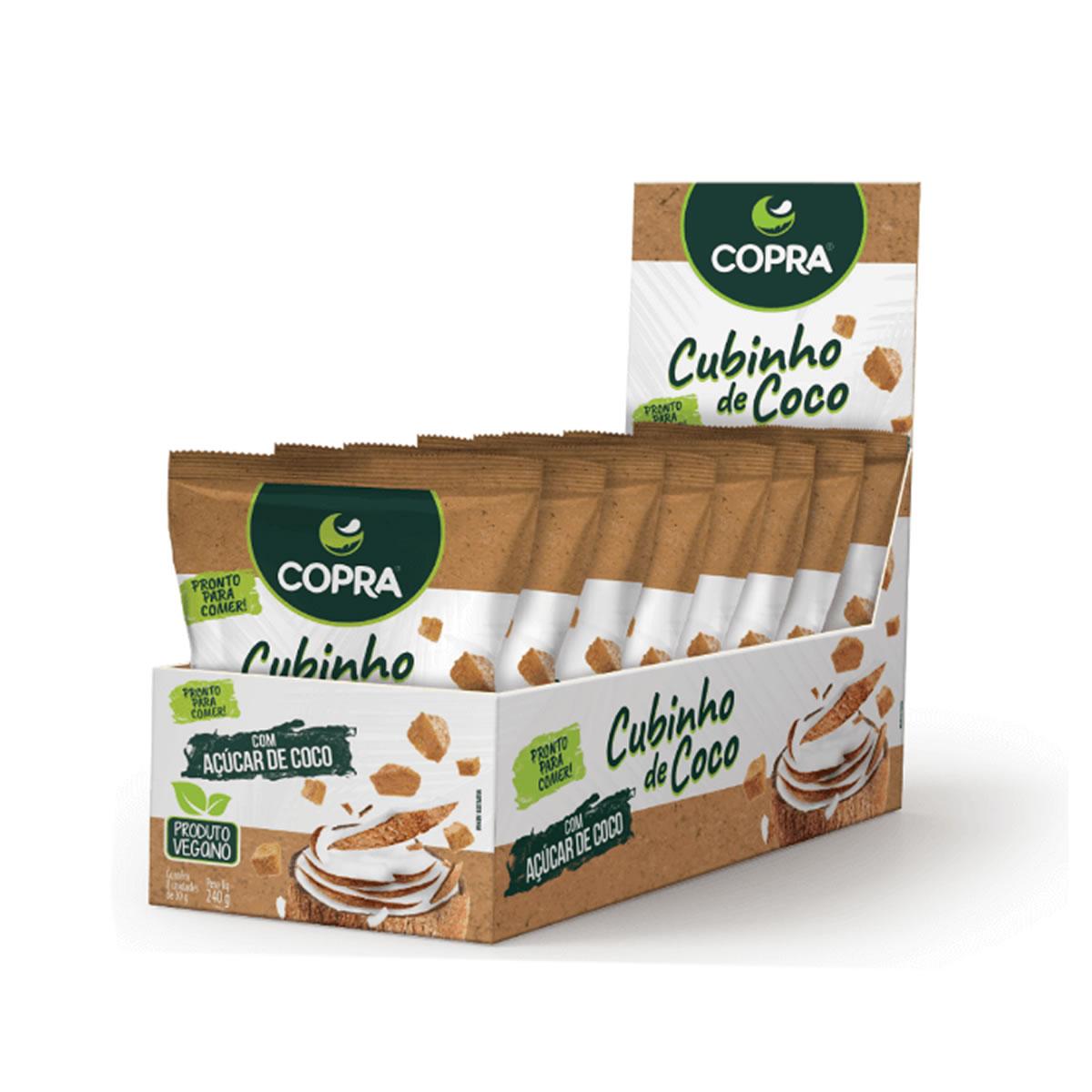 Cubinho de Coco sabor Açúcar de Coco com 8un de 30g - Copra