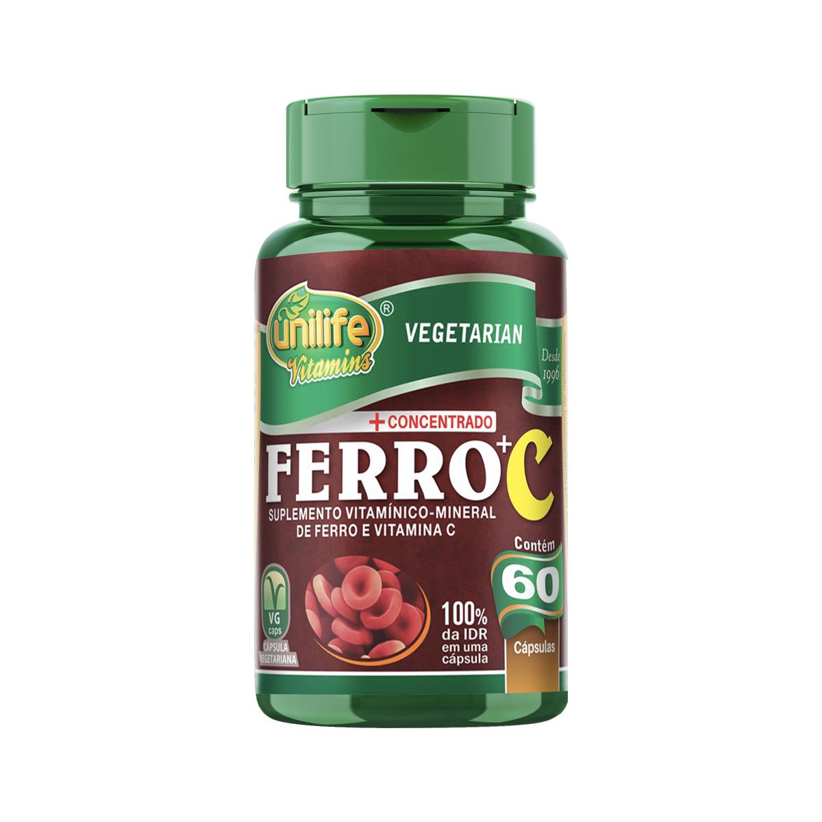 Ferro com Vitamina C 500mg 60 Cápsulas - Unilife