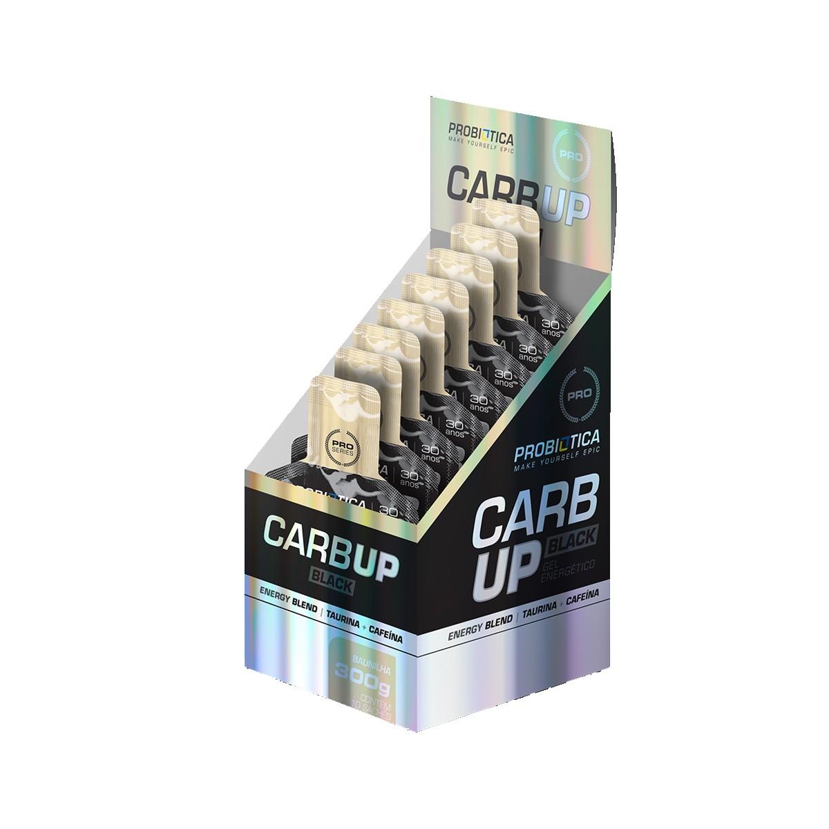 Gel Energético CarbUp Black Sabor Baunilha Display com 10 sachês de 30g- Probiotica