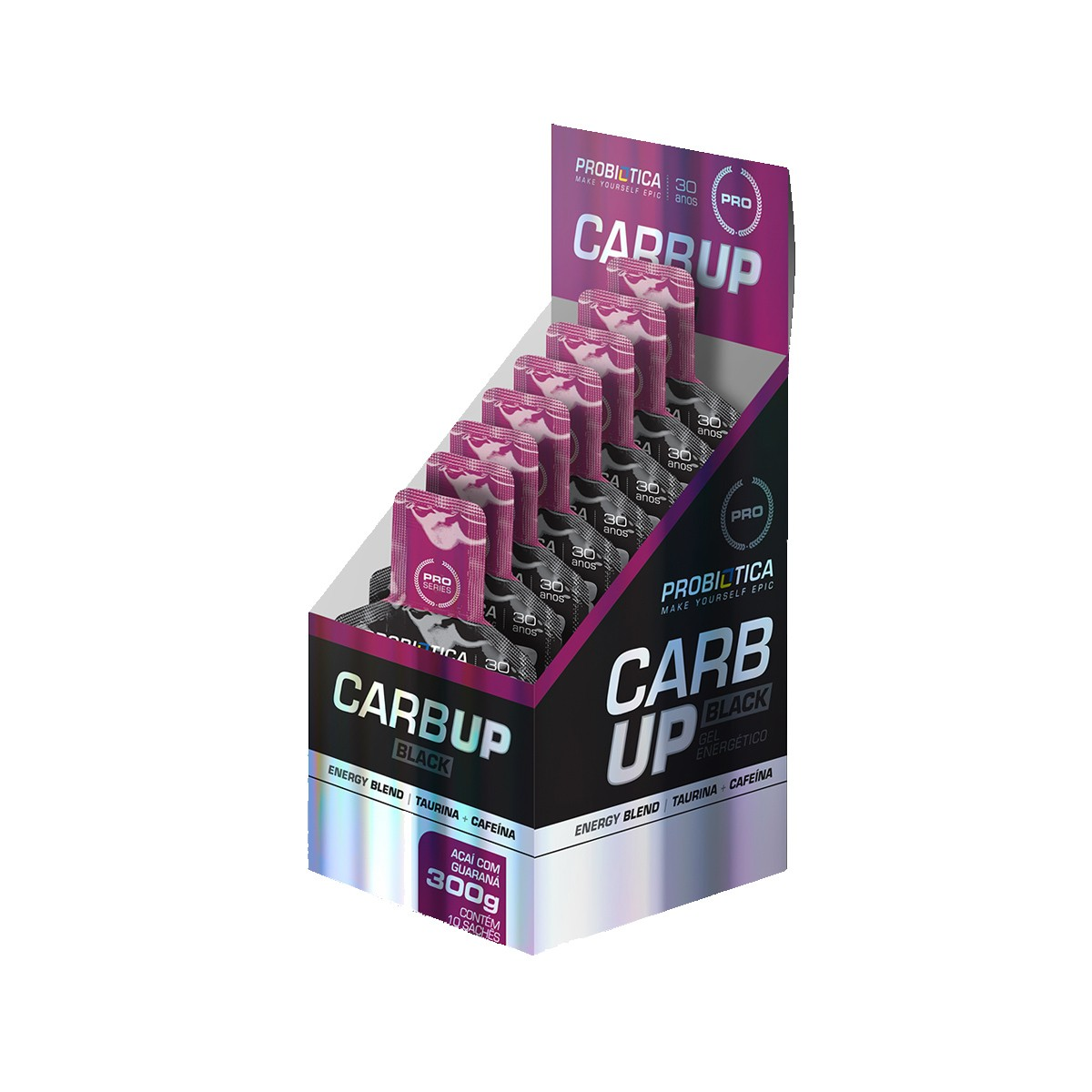 Gel Energético CarbUp Black Sabor Guaraná com Açaí Display com 10 sachês de 30g- Probiotica