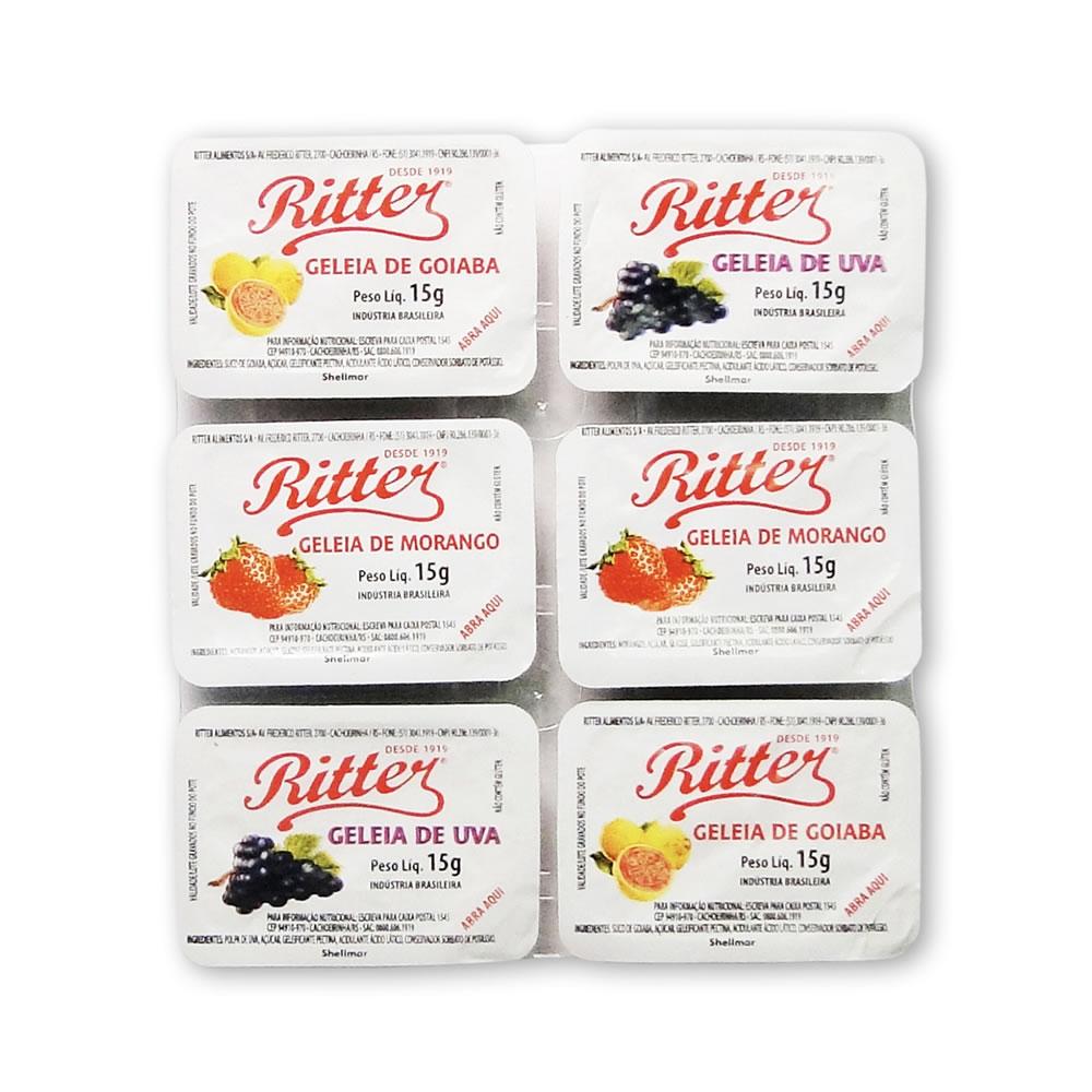 Geleia Diet Sortida (Goiaba e uva) 140 un. de 15g - Ritter