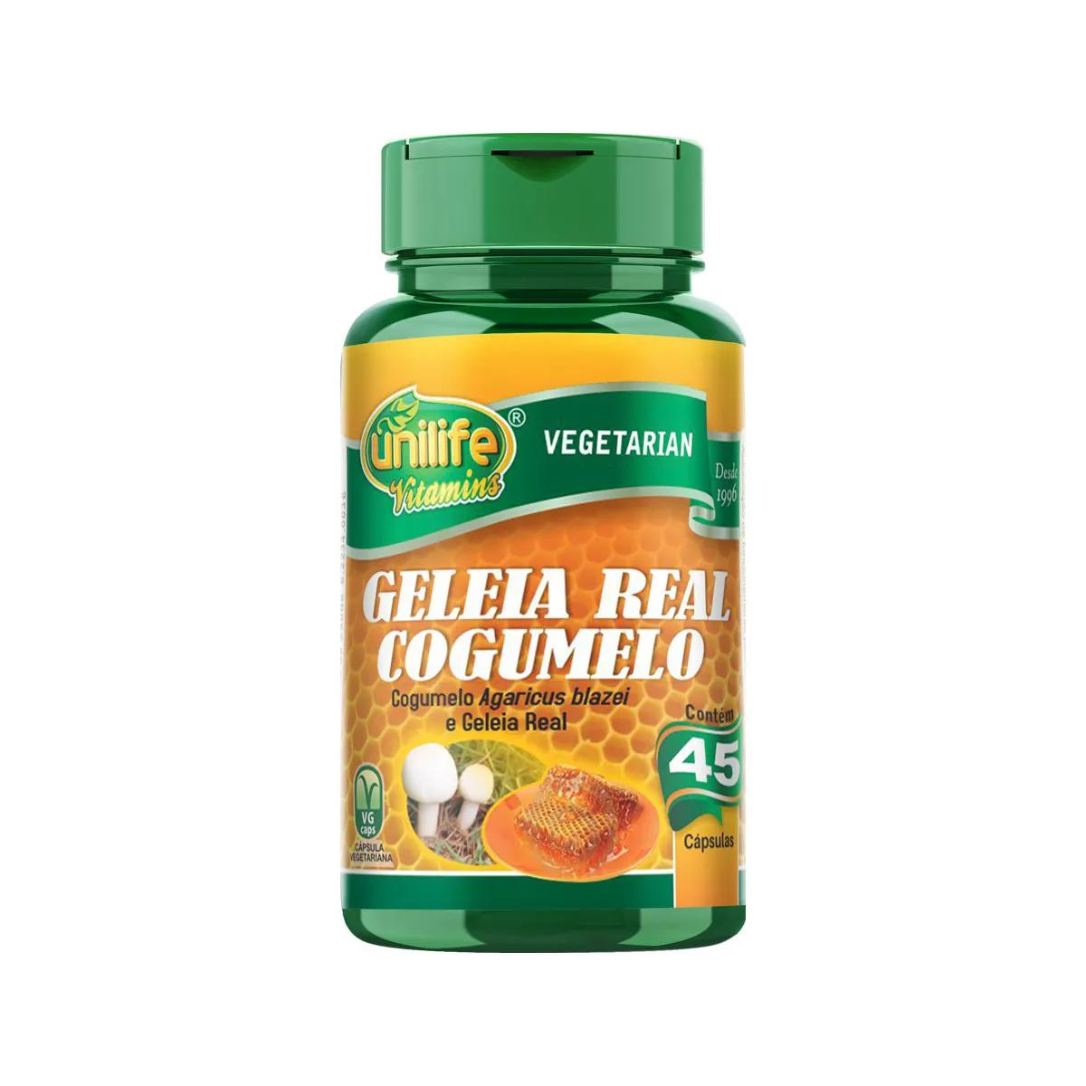 Geléia Real Liofilizada com Cogumelo 780mg 45 Cápsulas - Unilife