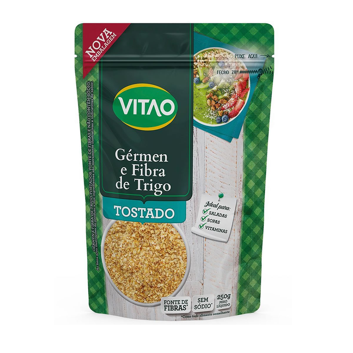 Germen e Fibra de Trigo Tostado 250g - Vitao