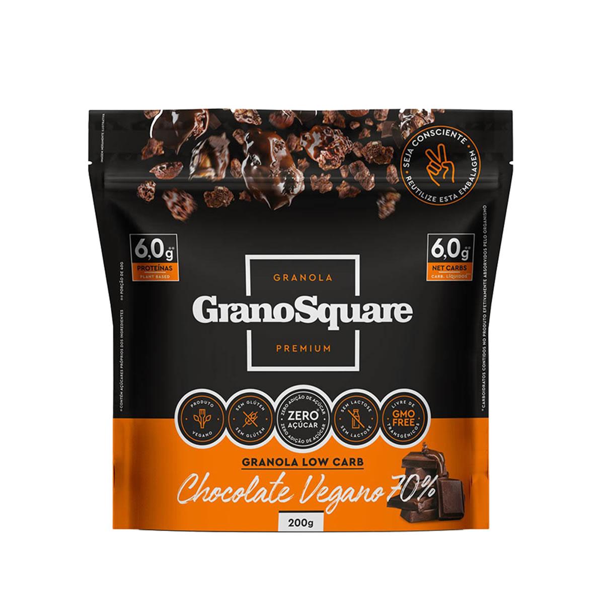 Granola Low Carb Chocolate Vegano 70% 200g - GranoSquare