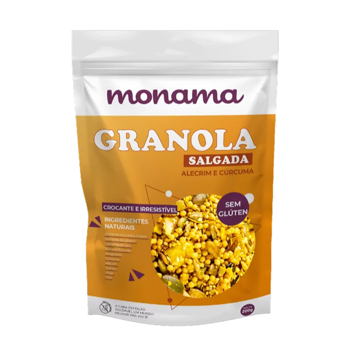 Granola Salgada Alecrim e Curcuma 200g - Monama