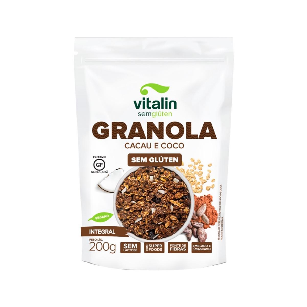 Granola Sem Glúten Cacau e Coco 200g - Vitalin