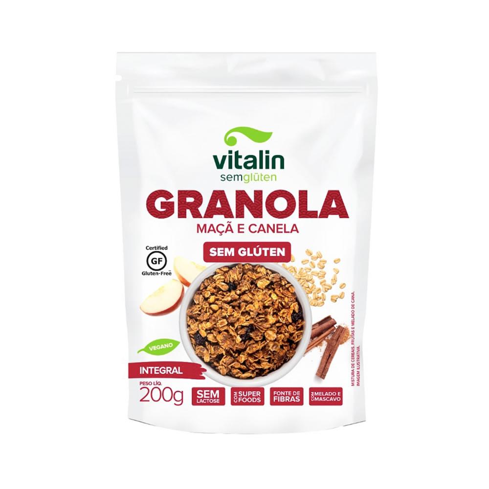 Granola Sem Glúten Maçã e Canela 200g - Vitalin