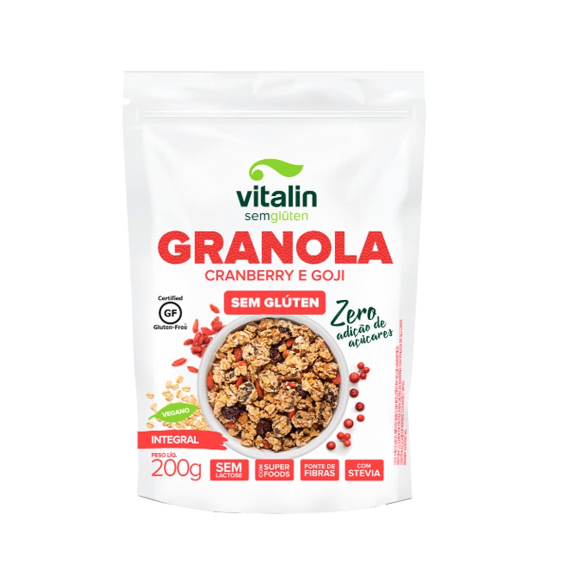 Granola Sem Glúten Zero Açucar Cranberry e Goji 200g - Vitalin