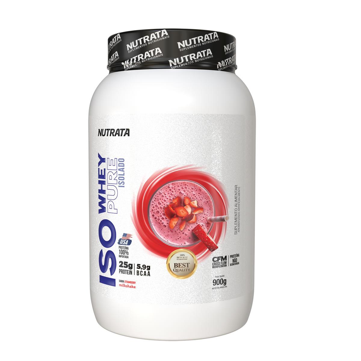 Iso Whey Pure Isolado sabor Morango 900g - Nutrata