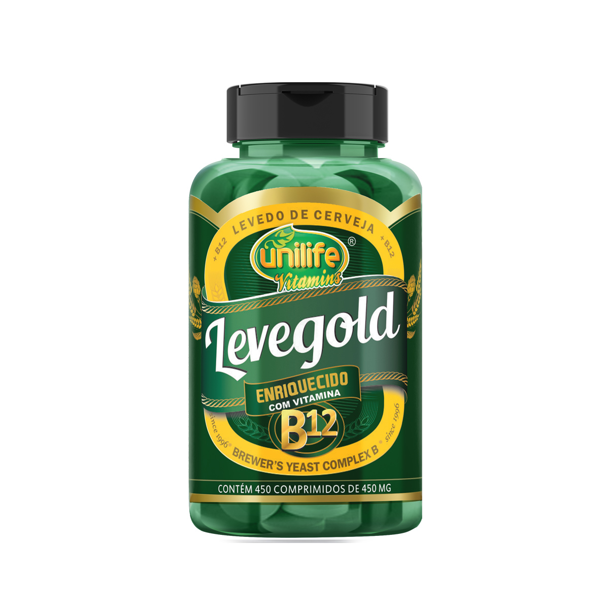 Levedo de Cerveja com Vitamina B12 450mg 450 Comprimidos - Unilife